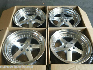 18 Esr Sr04 Wheels 18x10 5 22 5x114 3 Silver Machined Deep Dish Rims Set 4