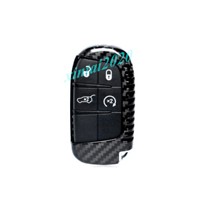 Real Carbon Fiber Remote Key Fob Hard Shell Cover For Jeep Grand Cherokee 15 20