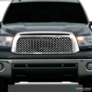 Topline For 2007 2009 Toyota Tundra Mesh Front Hood Bumper Grill Grille Chrome
