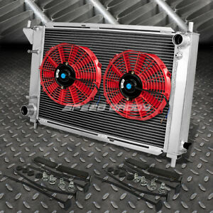 3 row Aluminum Radiator 2x 10 fan Kit Red For 96 Ford Mustang 4 6l V8 v6 Mt Gt