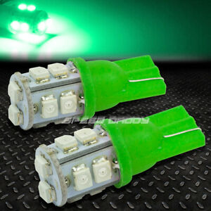 Pair T10 3528 168 194 10 Smd Wedge Green Led High Brightness Trunk door Lamps
