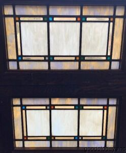 Antique Arts Crafts Craftsman Style Stained Leaded Glass Transom Windows 29 18