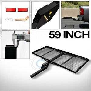 59 Black Mesh Folding Trailer Hitch Cargo Carrier Rack Tray For 2 Receiver C03