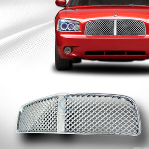 Fits 0506 10 Dodge Charger Chrome Mesh Front Hood Bumper Grill Grille Guard Abs Fits 2010 Dodge Charger