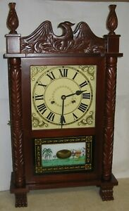 Seth Thomas Style Pillar Splat Column Shelf Mantel Chime Clock Working 8 Day