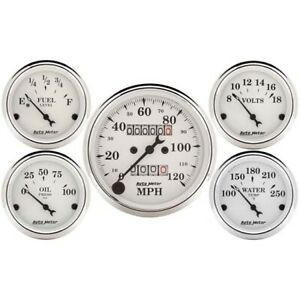 Autometer 1601 Old tyme White 5 Gauge Set Mechanical Speedometer