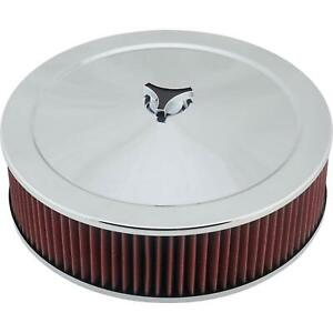 Chrome Air Cleaner With Washable Filter 14 X 4 Inch