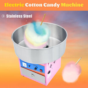 Electric Commercial Cotton Candy Machine Candy Floss Maker Pink Ss Kids Party
