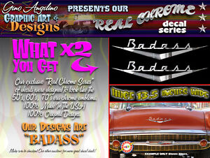new Size Awesome Hot Rod Badass Emblem Decal Set Huge 36 Inch Version