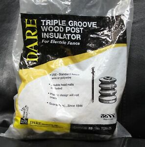 Electric Fence Insulator Wood Post Triple groove With Nail White 25 pk