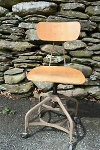 Vintage Toledo Metal Furniture Co Drafting Office Stool Steam Punk Industrial