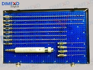 Liposuction Cannula Set Of 12 Pcs With Handle Luer Lock Plastic Surgery