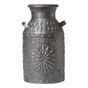 Milk Can Accent Light In Antique Punched Tin