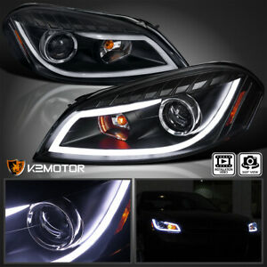For 2006 2013 Chevy Impala Black Led Bar Projector Headlights Signal Lamps Pair
