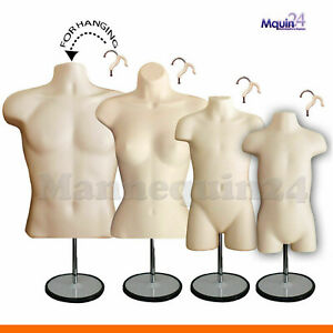 Family Set Male Female Child Toddler Torso Mannequins 4 Table Top Stands 4 Hooks