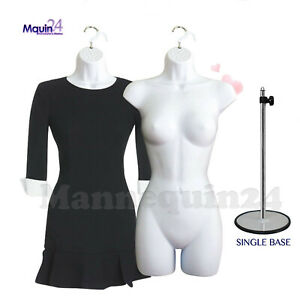 2 White Female Mannequin Torsos 1 Stand 2 Hangers Women s Dress Forms