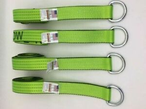 4 Pack Of 2 X 100 Hi Viz Green Tecnic Webbing Lasso Straps With Wire D Rings