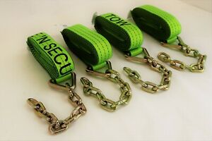 4 Pack Of 2 X 14 Hi viz Tecnic Webbing Straps With 5 16 X 12 G70 Chain Tails