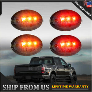 For Ford 99 10 F350 Smoked Amber Red Dually Bed Fender Side Marker Led Lights Us