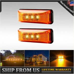 2x Amber Side Led Marker Light Truck Boat Trailer Clearance Waterproof 3 9 Inch