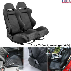 2pcs Car Racing Bucket Seats Leather Reclinable Universal W 2 Sliders Left Right