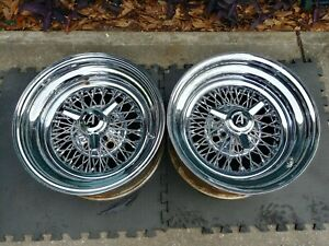 15 Appliance Chrome Wire Spoke Wheels 2 Gm 5 4 75 Lug Pattern With Spinners