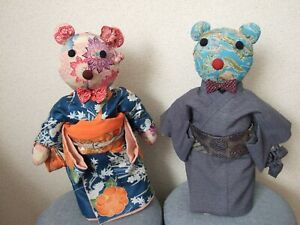 Boy Girl Kimono Bears With Kimono Obi Made By Japanese Cloth Handmade Asian Doll
