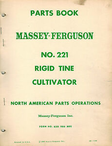 Massey Ferguson 221 Rigid Tine Cultivator Parts Manual