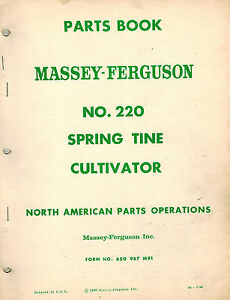 Massey Ferguson 220 Sprin Tine Cultivator Parts Manual