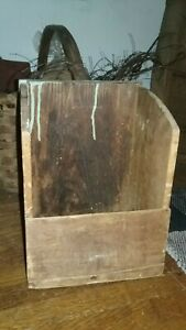 Antique Primitive Make Do Wood Wall Candle Holder Sconce Patina