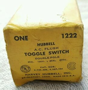 Vintage 1950s Harvey Hubbell Ac Flush Silent Toggle Light Switch No 1222 Nos