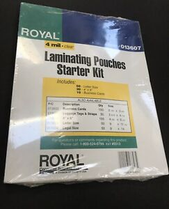 Lot Of 3 Royal Laminating Pouches Starter Kit 013607 Letter 4x6 Business Cards