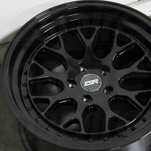Esr Cs1 Gloss Black Wheels 18x9 5 35 5x114 3 18 Inch Deep Dish Rims Set 4