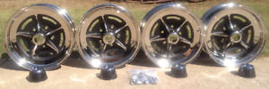 Buick Riviera Full Size Rally Chrome Wheel Set W New Center Caps