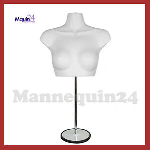 Female Mannequin Torso With Stand Hanger White Women s Chest Dress Form