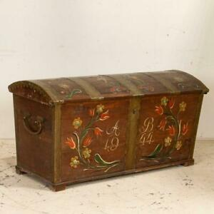 Antique Original Painted Swedish Dome Top Trunk Dated 1944
