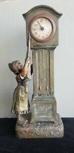 14 In French Figural Bronze Patinated Statue Clock Girl Reaching With Umbrella