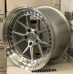 18x9 5 Silver Machined Aodhan Ds08 Wheels 5x100 35 Rims 18 Inch Set 4