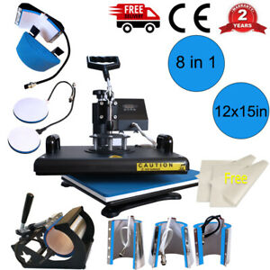 8in1 Digital Transfer Heat Press Machine T shirt Mug Hat Sublimation Combo Kits