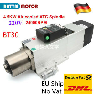 Cnc 4 5kw Atc Spindle Motor Bt30 Air Cooled 24000rpm 220v Automatic Tool Change