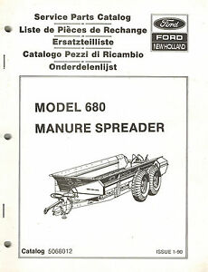 Ford New Holland 680 Manure Spreader Parts Manual