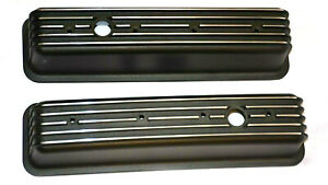 Small Block Chevy Tall Finned Black Center Bolt Valve Covers Vortec Tbi Sale