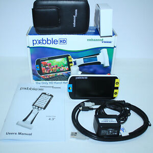 Pebble Hd Portable Hi definition Video Magnifier 4 3 Color W Everything Mint