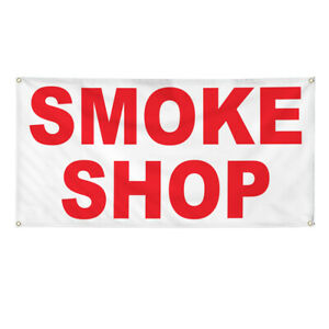 Vinyl Banner Multiple Options Smoke Shop Red General Business Outdoor