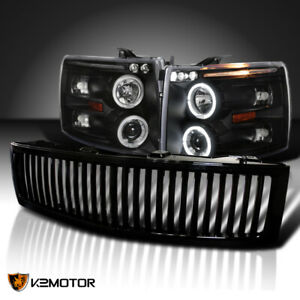 For 2007 2013 Silverado 1500 Led Halo Black Projector Headlights vertical Grille