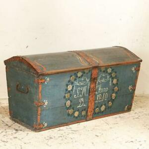 Antique Original Blue Hand Painted Dome Top Trunk Sweden Dated 1810