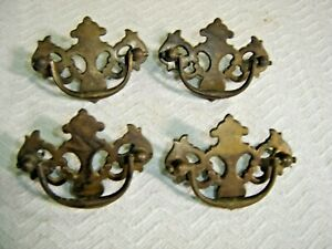Antique Salvage 4 Antique Chippendale Batwing Drawer Pulls With Screws 1177