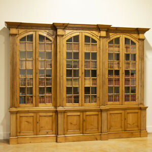 Large Antique Pine Bookcase Display Cabinet