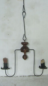 Rare Miniature 18th Early 19th C 2 Candle Hanging Chandelier American