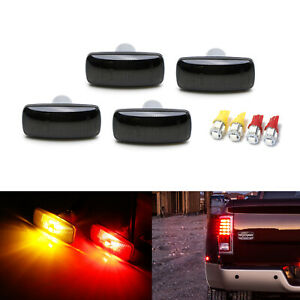Smoked Lens Front rear Fender Side Marker Lamps W Led Bulbs For 10 18 Dodge Ram